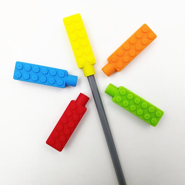 best selling Chew Brick Silicone Pencil Toppers Food Grade Teething Sensory Toys for Boys Girls Kids Chewy Topper Teethers Autism Aid