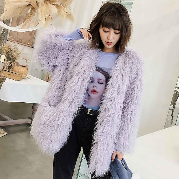 txjrh stylish long hairy shaggy faux mongolia sheep fur outwear jacket coat winter women keep warm long sleeve  3 colors