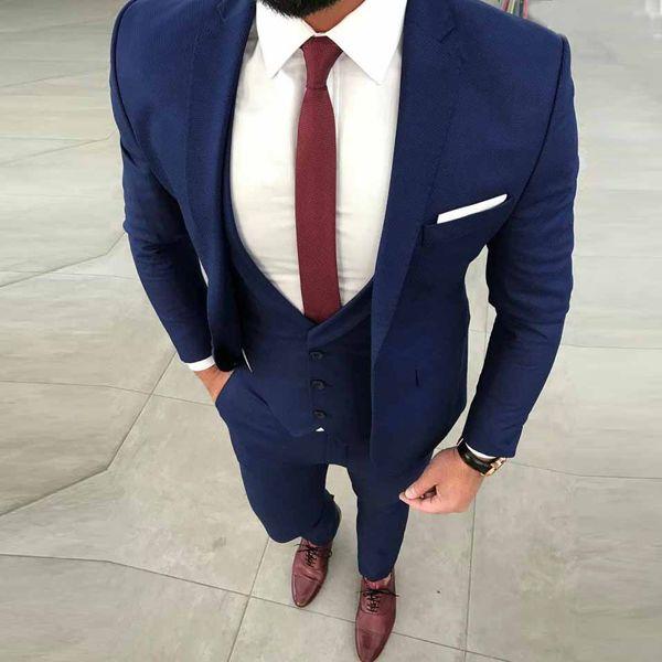 Custom made Mens Royal Blue Suits Fashion Formal Dress Men Suit Set men wedding suits groom tuxedos (Jacket+Pants+Vest)