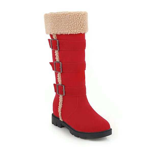 New Hot Women Boots Autumn Flock Winter Ladies Fashion Snow Boots Shoes Thigh High Suede Mid-Calf Boots A008