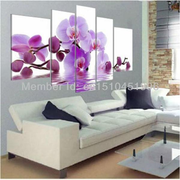 Peint à la main pourpre Wall Art Côté Eau Orchidée Fleur Peinture Toile Huile Paysage Moderne Abstrait 5 Panneaux Par Pièces
