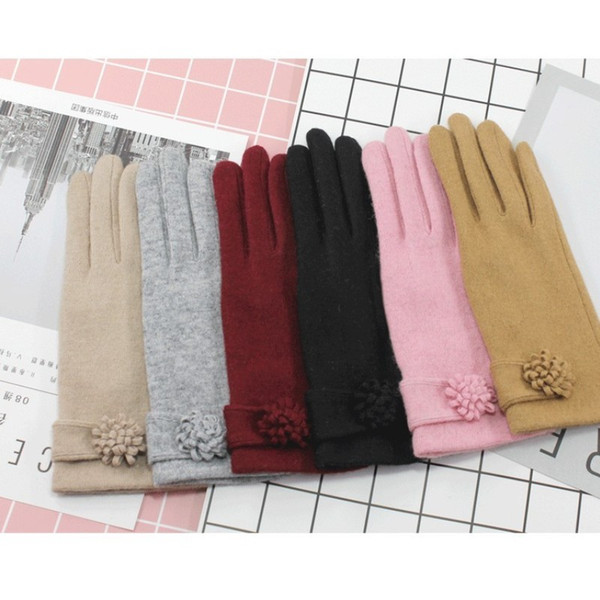 Donna Ladies Glove Autunno Inverno Touch Screen Keep Warm Lovely Student Girls Wool Kittted Mittens Guanti Pure Color Fashion 14rs bb