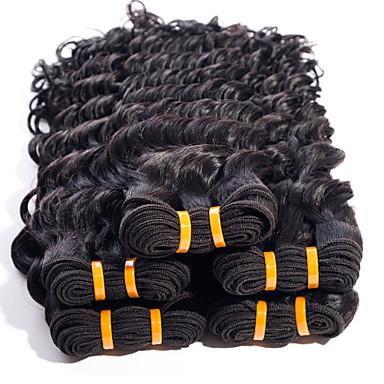 Unprocessed Double Weft Black Color Hair Peruvian Deep Wave Remy hair 1piece black human hair weaving extension