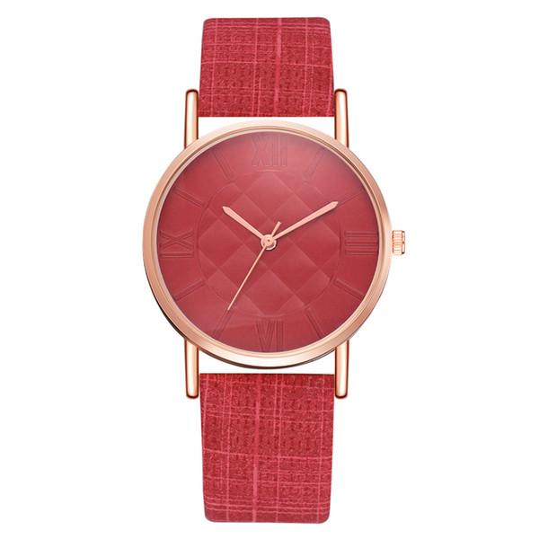 Reloj de pulsera de cuarzo de los hombres de las mujeres con la correa de cuero de la PU duradera Reloj de cuarzo de la tela escocesa del estilo simple @ 88