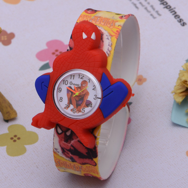 best selling New Cartoon Slap watches Silicone Coloful Band Candy 3D Kid Watch Spiderman Batman kids children Rabbit cartoon Snap slap watches.