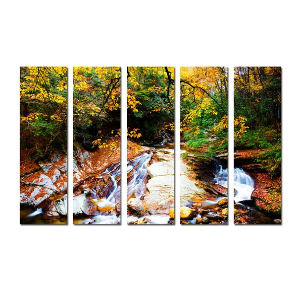 Large 5 Panel Modern Wall Art Picture Golden autumn Maple Fallen Leaves Landscape Print painting On Canvas for Living Room Home Decor SetB18