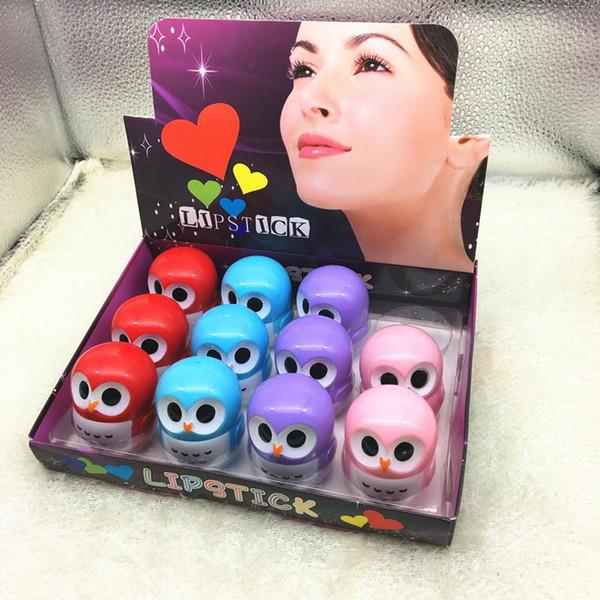 top popular owl Candy Color Moisturizing Lip Balm Natural Plant Sphere Lip Gloss Lipstick Fruit Embellish Lip Smacker 2021