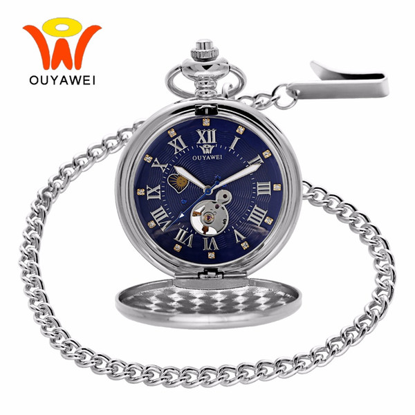 Ouyawei 2017 Antique Moon Phase Mechanical Pocket Watches With Chain Skeleton Dial Men Clock Necklace Pocket Fob Watch 3 Colors