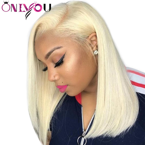130% Destiny # 613 Blonde Full Lace Pelucas de cabello humano Full lace pelucas de cabello humano bob Recta Remy Hair Short Bob Pelucas Pre plucked Hairline