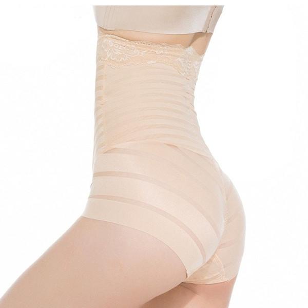 Women Butt Lifter Tummy Control Panty High Waist Seamless Transparent Striped Lace Slimming Briefs Body Shaper Panties Underwear