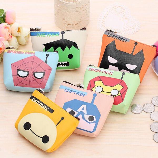6 Styles Japan and South Korea Mini Creative Small Package Super Hero White Cute Cartoon Headset Mobile Phone Bag PU Wallet