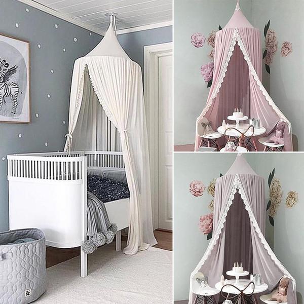 Prinzessin Stil Spitze Moskitonetz Runde Dome Bett Baldachin Baumwolle  Leinen Moskitonetz Vorhang Für Kinder Mädchen Zimmer