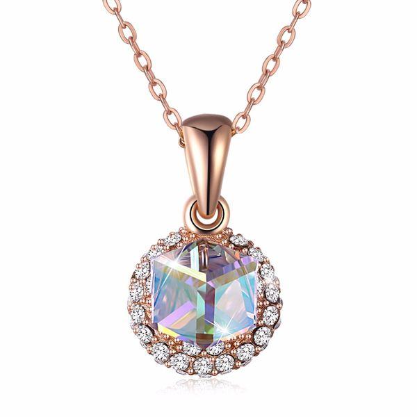 Lüks Küp Kolye ile Yapılan Kristal Altın Pembe Kadınlar için Gerçek 925 Ayar Gümüş Güzel Takı Düğün Parti Hediye