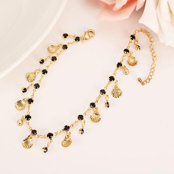 New Korean Fashion 14k Real Fine Yellow Solid gold GF Black CZ Unlimited Charm Multi-element Bracelet lengthen Size length Anklet Summer