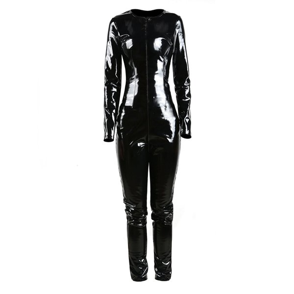 GLAMCARE Costumes & Cosplay Fetish Catsuit Playsuit Sexy Punk PVC Look Bodysuit Night Club Fetish Wear Black