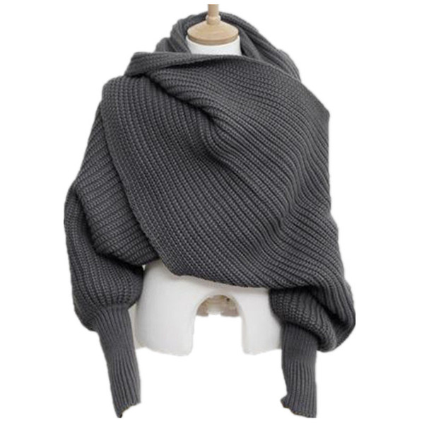 Korean Knitted LICs Scarf Collar Unisex Winter Warm Long Sleeve Poncho Scarves For Women Knit Shawls Stole Men's Sweater Scarfs Y18102010
