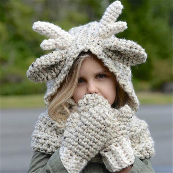 Kids Winter Wool Hat Elk Hoode Hat Scarf Gloves 3 in 1 Set Baby Warm Knitting Caps Christmas Gift Elk Crocket for Kid Boy Girls Accessories