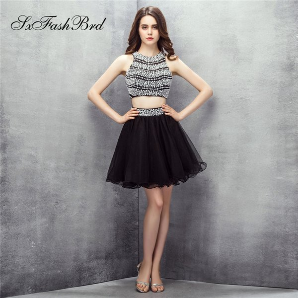 Elegant O Neck With Pearls Open Back Crop Top Mini Short Party Formal Evening Dresses for Women Two Pieces Prom Dress Gowns