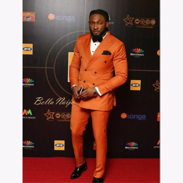 Elegant Orange double Breasted Men Suit 2018 Custom Wedding Tuxedos Groom Suits For Men Business Office Wear (Jacket+Pants)
