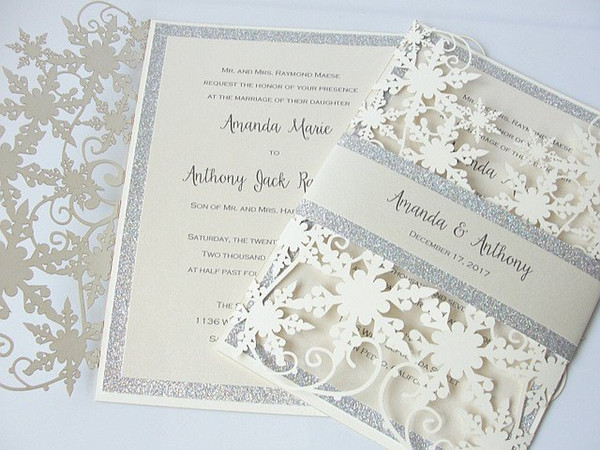 best selling Winter Shimmer Snowflake Laser Cut Wedding Invites with Silver Glitter Belly Band Ivory Engagement Invitation as Wedding Favor Free Shipping