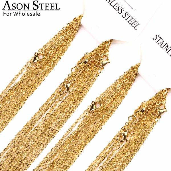 ASONSTEEL Wholesale 18/20/22/24 inch Rolo Link Chain Gold Color Women Jewelry Stainless Steel Chains Necklaces 10pcs/lot