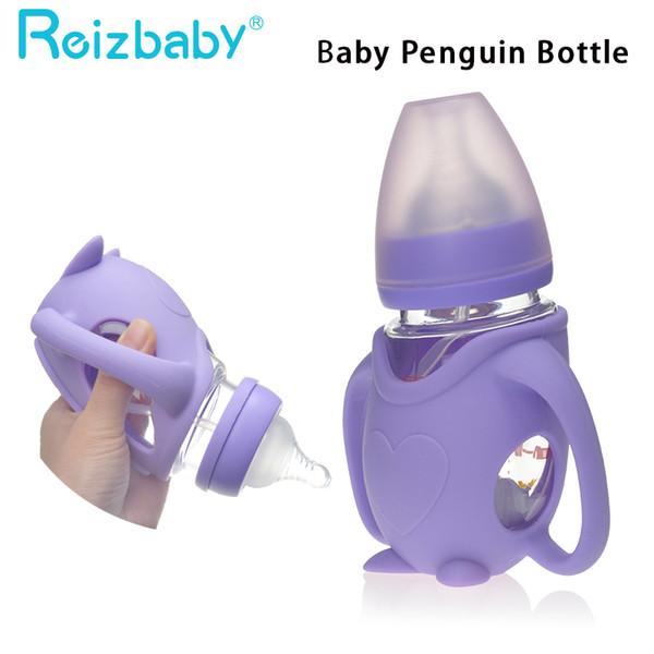 Acquista reizabile biberon bambini pinguino di cartone animato forma