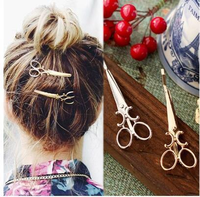 Hot Sale Fashion Women Chic Golden Silver Scissors Shape Hair Clip Hairpin Hats Cute Hair Accessories
