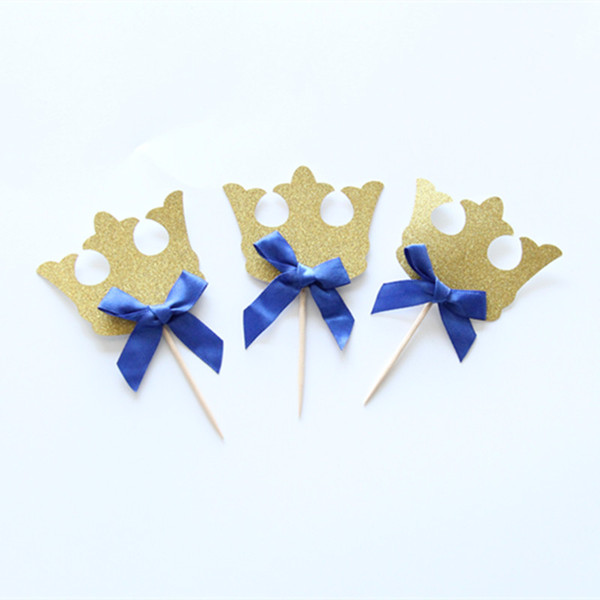 12 pcs/pack Prince Party Decorations Gold & Blue Bow Crown Cupcake Toppers Picks Boys Baby Shower Party Cake Accessory Favor