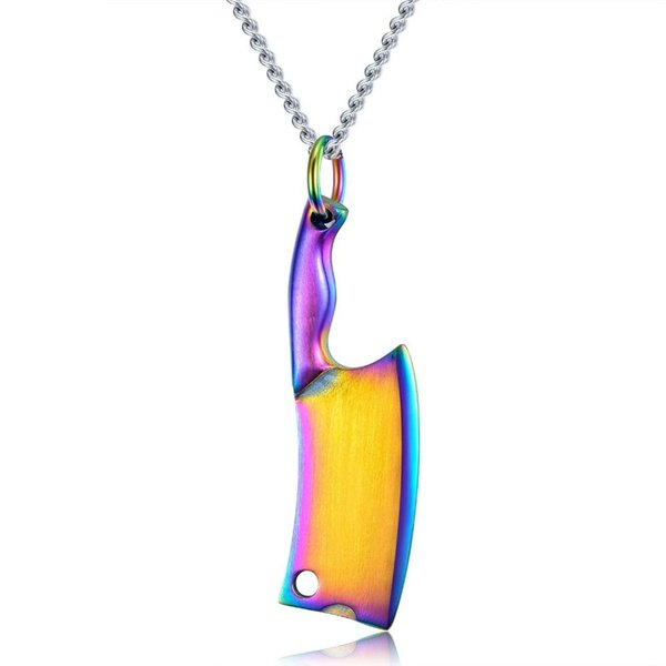 Sedmart Customized Logo Name Stainless Steel Kitchen Knife Pendant Necklaces For Men&Women