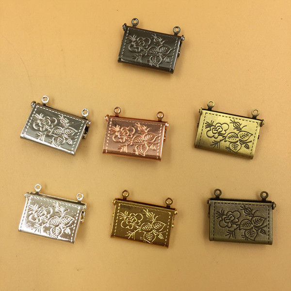 10pcs 20*15*4MM Silver/antique bronze/rose gold/black gun envelope handbag photo locket charms jewelry, metal women picture frame pendants