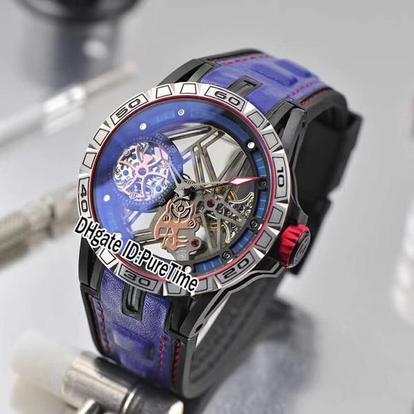Excalibur 46 mm RDDBEX0696 Estuche de acero grabado vintage Dial esqueleto Tourbillon Reloj automático para hombre Azul Caucho / Cuero Línea roja B45a1
