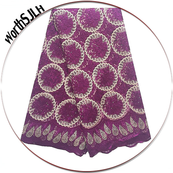 WorthSJLH Magenta African Tulle Lace Fabric 2018 Latest High Quality Cord Laces Nigerian Fabrics Sliver Nigeria Lace Fabric