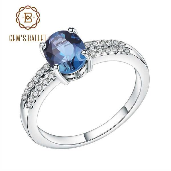 Gem в балет 1.57 Ct Овальный природный Лондон голубой топаз драгоценный камень кольцо стерлингового серебра 925 кольца для женщин участия ювелирных украшений