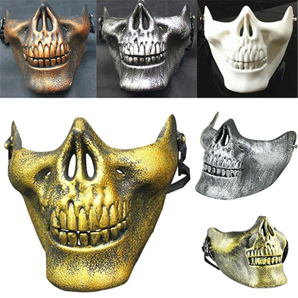 Máscara CS Carnival Gift Scary Skull Skeleton Paintball Máscara de media cara Máscaras faciales Máscara protectora Máscaras de fiesta de noche de Halloween