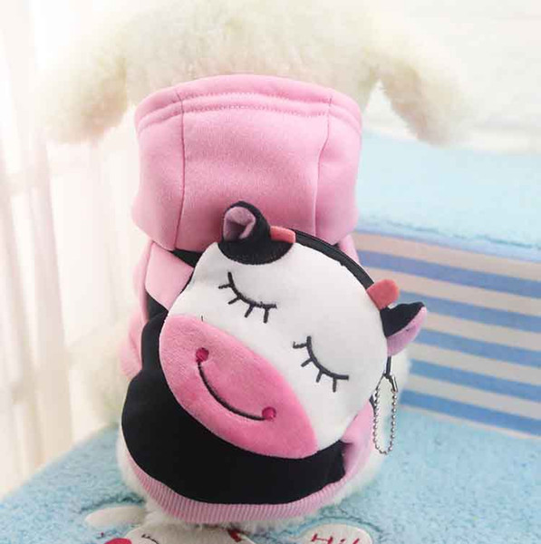 2018 En Moda Yeni Karikatür Küçük Köpekler için Pet Köpek Giysileri Yumuşak Pet Kazak Giyim Mont, ceketler Outerwears Klasik Xs-xxl