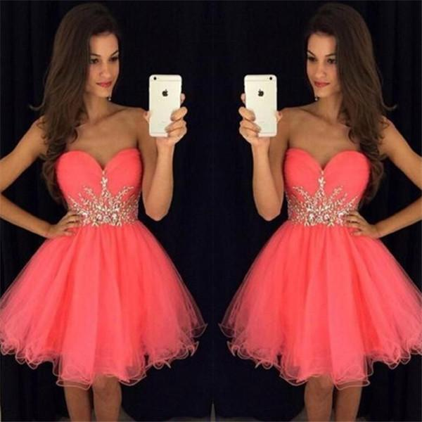 Mini A-line Homecoming Dresses 2018 Tulle Strapless Ball Gown Puffy Tutu Skirts Beadings Cocktail Dress Short Prom Gowns BA6933