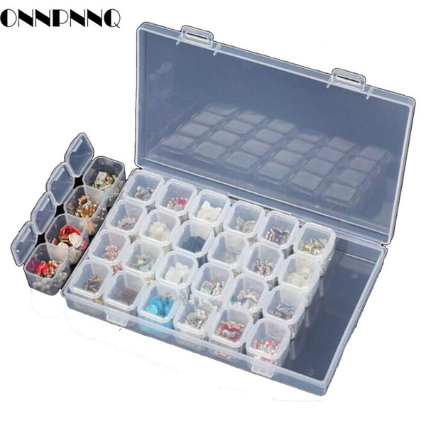 OnnPnnQ 28 Slots Clear Plastic Empty Storage Box Jewelry Nail Art Rhinestone Tools Display Storage Case Travel Organizer Holder