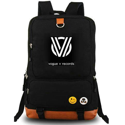 Fores backpack Vogue V records daypack Cool DJ music schoolbag Computer interlayer rucksack Canvas school bag Outdoor day pack