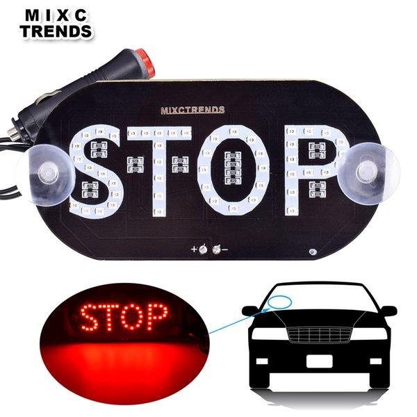 1 Pcs Panneau Stop LED Signer la lumière pour 12 V Voiture Toit Pare-Brise Fenêtre Stop LED Signer Décor Avertissement Lumière Avec Allume-cigarette