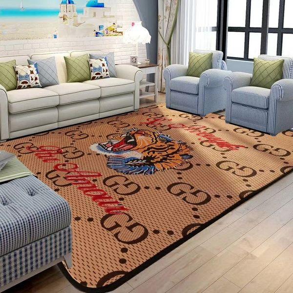 Khaki tiger head carpet gg fa hion letter non lip mat european and american decorate foot pad
