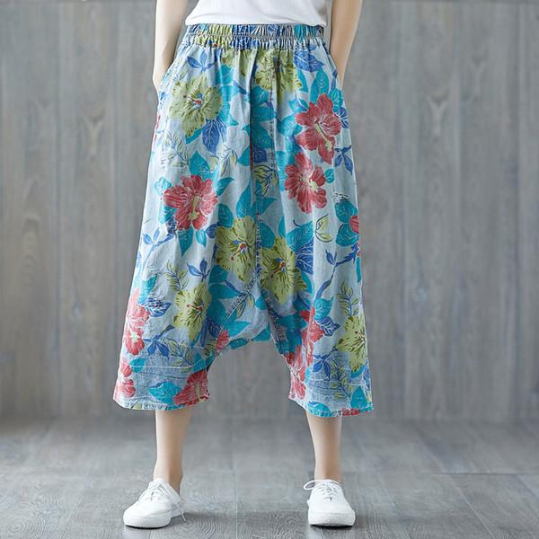 Pantalones baggy drop entrepierna Mujer hip hop Pantalones vaqueros Impresión Floral jeans Pantalones harén Wide Leg Cross-pants Bloomer