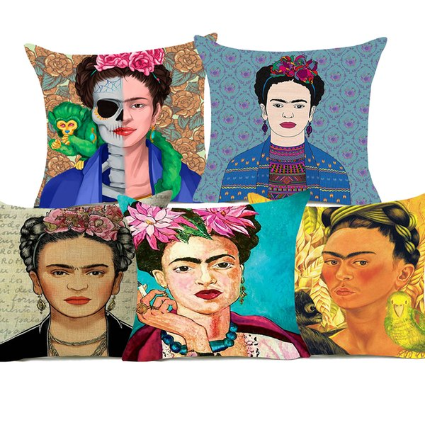 Portrait Cushion Covers Oil Painting Cushion Cover Decorative Linen Cotton Pillow Case For Bedroom Sofa Couch Chair