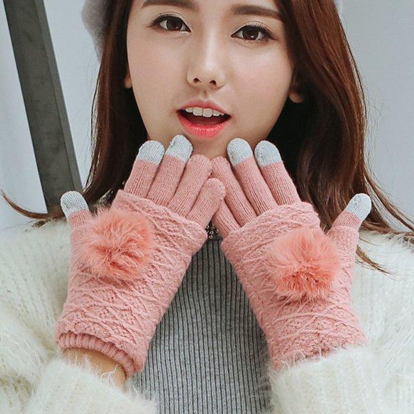 Hot Winter Women Soft Rabbit hair Warm Knit Gloves Fashion Lovely Warmer Girls' candy color touch screen driver's gloves mittens
