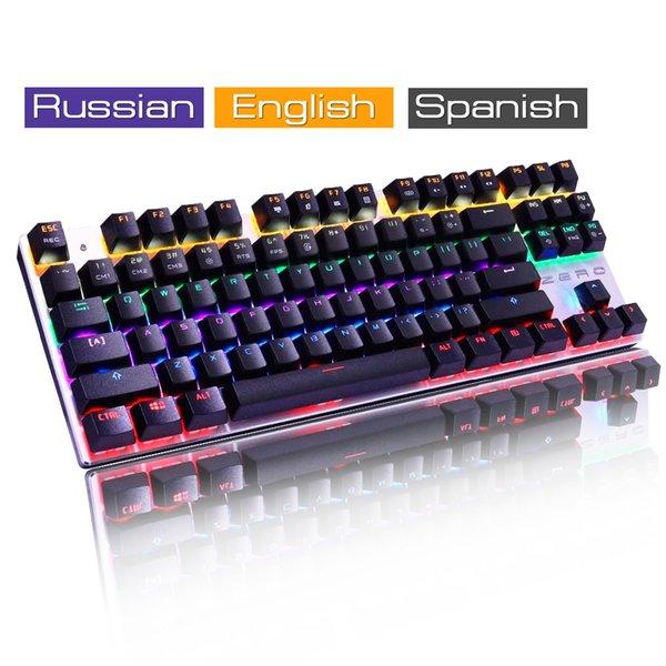 Clavier USB filaire véritable jeu mécanique RGB LED rétro-éclairé ergonomique Design pro clavier Gamer anglais russe espagnol Layout