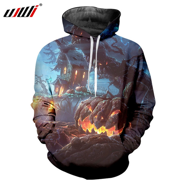 UJWI Halloween Forest Terror Castle Ghost Men's Hoodies 3D Printed Big Mouth Flame Pumpkin Man Large Size 6XL