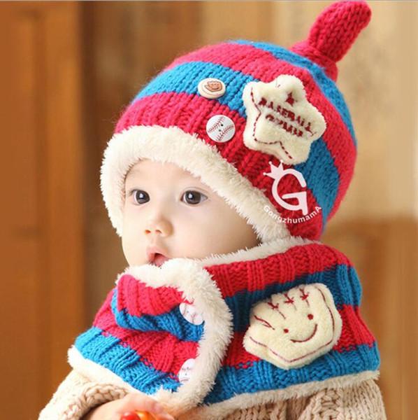 fashion winter baby caps scarf set toddler girls boys wool hats infant yarns crochet knit hat warm ear wraps beanie wholesale