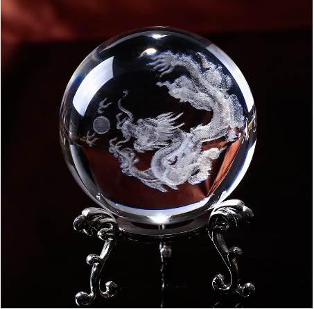 Glass Ball 3D Laser Engraved Dragon Crystal Ball Feng Shui Globe Home Decoration Accessories Miniatures Gifts