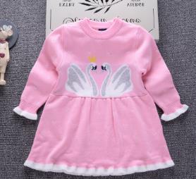 HAN SHAO Double han edition children's wear cotton swan children dress skirt new winter sweater female baby sweater