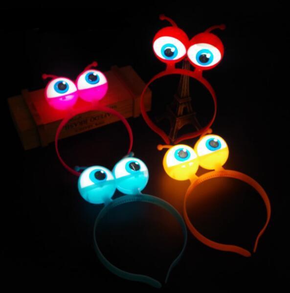 Halloween LED Flashing Alien Headband,Light-Up Eyeballs Hair Band Glow Party Supplies LED toys YH1385