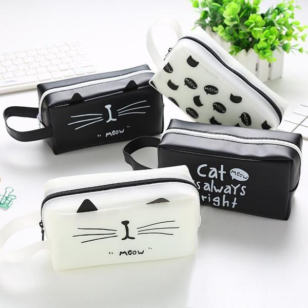 Jelly gel Coin Purse Pouch Cases Bag Cute Cat Letter Storage Money Clutch Holder PencilCase Container Zipper Pen Wallet